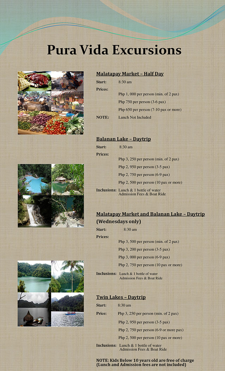 pura vida excursion pricelist